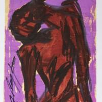 "Jesús ""Chucho"" Reyes, Cristo en Rojo, s/f. Aniline on tissue paper. 75 x 48 cm."