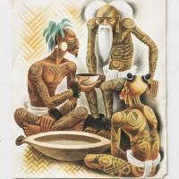 Miguel Covarrubias, Sin título (tres personajes), 1935. Acuarela. 28 x 24 cm. NFS. Colección Casa Barragán.