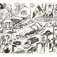 Paloma Contreras Lomas. Dibujo del zine -Las botas de hule precioso-, parte de la pieza -Fidel Velázquez no está muerto-, 2016. Dibujo en papel y tinta.