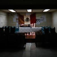 Paloma Contreras Lomas. Still de video de la pieza -Fidel Velázquez no está muerto-, 2016. Tomada en el Sindicato Nacional de los Trabajadores de la Moneda.