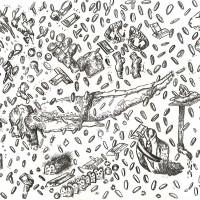 Paloma Contreras Lomas. Parte de la serie de dibujos del proyecto -Fidel Velázquez no está muerto-, 2016. Dibujo en tinta sobre papel.