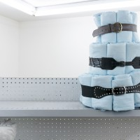 Belt Cake, 2017. Adult Diapers, Belts. 20 × 16 × 16 in. Courtesy of Good Weather, North Little Rock.