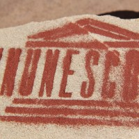 UNUNESCO #65 - Original stone cut from St. Francis Assisi Cathedral quarry and pulverized stone dust. 2016
