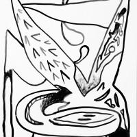 Jair Jesús Toledo, La famosa burbuja de irrealidad, 2016. Tinta estilográfica sobre papel. 1 m x 70 cm. Cortesía de UV Estudios, Buenos Aires.