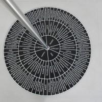 Lucia Elena Prusa, Feeling Wheel, 2017. Acero, serigrafía sobre hule. 92 x 92 x 214 cm. Cortesía: Travesía Cuatro. Crédito de la foto: Samantha Cendejas.