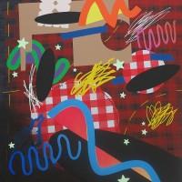 Juan Céspedes, Burbujas espaciales sobre moco de vaca. Acrílico sobre tela. 120 x 100. Cortesía de Die Ecke.