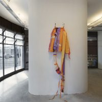 Straight-Jacket, 2002. Windsurf sail, adhesive tape, hooks, thread. Variable dimension. Photo: Everton Ballardin. Courtesy of Pivô, São Paulo