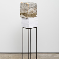Lucas Simões, White Lies 6, 2017. Concrete, paper, gold leaf, and steel. 54-1/4 x 12 x 9-1/2 inches. Courtesy of the artist.