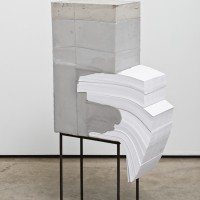 Lucas Simões, White Lies 4, 2017. Concrete, paper, and steel. 40-1/4 x 20-3/4 x 8-3/4 inches. Courtesy of the artist.