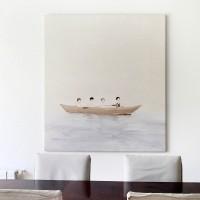 Vista de instalación: Paseo, 2017. Acrílico sobre lino. 110 x 140 cm. Cortesía de María Casado Home Gallery