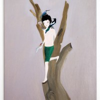 Upupa epops, 2017. Acrílico sobre lino. 47 x 69 cm. Cortesía de María Casado Home Gallery
