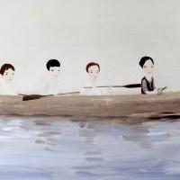 Paseo, 2017. Acrílico sobre lino. 110 x 140 cm. Cortesía de María Casado Home Gallery