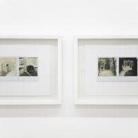 Vista de instalación: (izquierda) Variaciones en el espejo. Polaroid SX-70 (2 polaroid). 21,8 x 27,7 cm. Londres, 1977; (derecha) El bosque. Polaroid SX-70 (2 polaroid). 55 x 28 cm. Londres, 1977. Cortesía de Abra Caracas. Fotografía: María Teresa Hamon