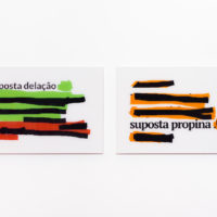 Traplev, Untitled I [supposed whistle blow series], 2016/2017. Methacrylate. Diptych. (40 x 62 cm, each). Courtesy of Sé Galeria. Photo: Pedro Victor Brandão