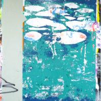 Le Rideau, 2017, laca, esmalte, acrílico sobre tela, 200 cm x 170 cm. Cortesía del artista.