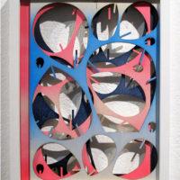 Allan Villavicencio, Sin título, 2017, pintura en spray sobre corte de madera, 35 x 25 cm. Galería Libertad. Cortesía del artista
