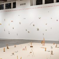Selection of Precarios, 1966-2017. Site-specific installation. 110 found-object sculptures: stone, shells, glass, wood, plastic, thread, net, seeds, paper, cloth, detritus, sand. Dimensions variable. Courtesy of Contemporary Arts Center, New Orleans. Alex Marks Photography.