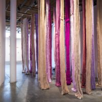 Quipus Visceral, 2017. Site-specific wool installation. Colors: adobe, aster, chianti, fleshtone, lilac, magenta, periwinkle, plum, sand, waterlily. Dimensions variable. Courtesy of Contemporary Arts Center, New Orleans. Alex Marks Photography.