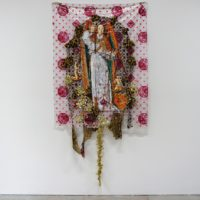 Christine Wang, To Buy or Not To Buy, 2013. Acrylic, tinsel and fabric on plastic. 60 x 50 inches. Courtesy of Et al. etc.