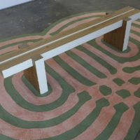 Cameron Schoepp, Bench/Place, 2014. Carpet, wood, paint.