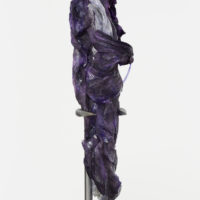 Weave We Weavers II, 2016. Electron micrograph, pigment print on silk, polyurethane, woven aluminum, polished steel. 158 × 38 cm / 62.2 × 14.9 in. Courtesy of the artist.