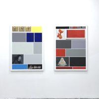 Vista de instalación (de izquierda a derecha): Bacon • Richter • Emin. Óleo sobre lienzo. 135 x 96 cm; Abramovic • Koons • Duchamp. Óleo sobre lienzo. 135 x 96 cm. Cortesía de Ginsberg Galería