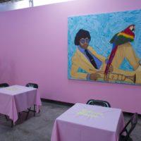 "Installation view with ""Sabroso, Sensual, Calientito, Venenoso"" and ""Luis Sunshine 'Perico' Ortiz."" Radamés ""Juni"" Figueroa, Sabroso Veneno at Anonymous Gallery, 2017. Photography: Ramiro Chaves."
