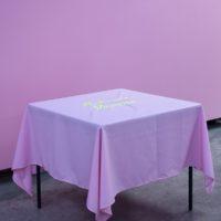 "Radamés ""Juni"" Figueroa, Sabroso Veneno Tablecloth, embroidery on polyester, 160 x 160 cm, 2017. Photography: Ramiro Chaves."