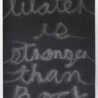 Water Is Stronger than Rock. Grafito sobre papel algodón, roca volcánica | Graphite on cotton paper, volcanic rock. 143 x 112 cm | 56.2 x 44.1 in. Courtesy of Galería Alterna, Mexico City