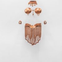 Ana Pellicer, Vestuario para Nahui Ollin, 1999. Hammered copper with copper chains. 64.96 x 21.26 x 13.39 inches / 165 x 54 x 34 cm. Image courtesy of House of Gaga, Mexico City