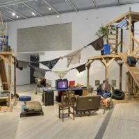Installation photo featuring Abraham Cruzvillegas's Autoconstrucción, 2010 in the exhibition Home—So Different, So Appealing at the Los Angeles County Museum of Art, June 11, 2017 - October 15, 2017, © Abraham Cruzvillegas, photo © Museum Associates/LACMA
