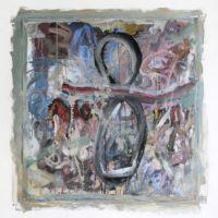 Mariana Ferrari, Sin título. Mixta sobre tela y papel e intervención en muro. 100 x 100 cm. Imagen cortesía de María Casado Home Gallery