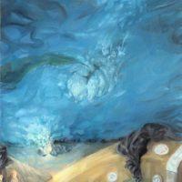 Guzmán Paz, Fondo del Jacuzzi. Óleo sobre tela. 80 x 60 cm. Imagen cortesía de María Casado Home Gallery