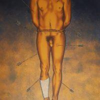 """Nahum B. Zenil, A San Sebastian. Silkscreen. 25 ¾"""" x 19 ¼"""". Courtesy of Galería de la Raza."""