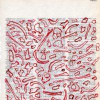 1159 Entallamiento, 2009. Tinta roja sobre hoja de Diccionario Español-Alemán. 24.5 x 20 cm. Cortesía del artista.