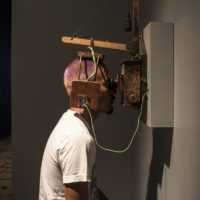 Nao Bustamante, Chac-Mool, 2015. Mixed media: stereoscopic video, custom upholstered stool, custom headphones by Jarrod Davis, stereoscope.