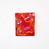 "Linda Arredondo, Virgo / Virago, 2017. (Alt-Zodiac Series) thread on cotton cloth. 8 x 7""."