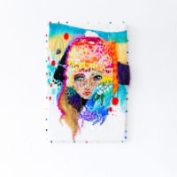 "Linda Arredondo, Untitled, 2017 (Ulzzang Series). Thread, gouache, and marker on cotton. 9.5 x 6.5""."