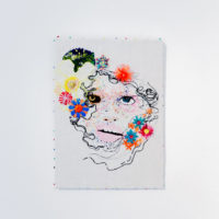 Linda Arredondo, Untitled, 2017 (Ulzzang series). Thread, glass beads, and marker on cotton. 14.75 x 10.75