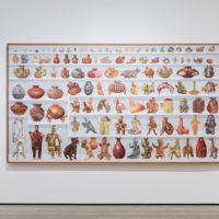 Gala Porras-Kim, 109 West Mexico Ceramics from the LACMA Collection: Colima Index/109 cerámicas del Occidente de México de la colección del LACMA: índice de Colima, 2017, graphite, colored pencil and acrylic ink on paper, courtesy of the artist, Commonwealth and Council, and LABOR, © Gala Porras-Kim, photo © Museum Associates/LACMA