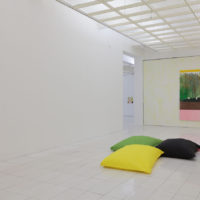 Installation view. Morten Slettemeås, green sky, yellow ground, 2017. Image courtesy of Galería Luis Adelantado.