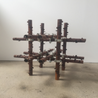 Luciana Lamothe, Untitled, 2017, Iron pipes and couplers 32 x 32 x 32 inches (81.3 x 81.3 x 81.3 cm). Photo courtesy of the artists and Steve Turner Contemporary.