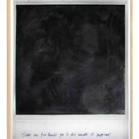 Todo era tan lindo que le dio miedo el infierno, 2017. Polaroid intervened with oil and carbon. 170 x 150 cm. Photo courtesy of the artist and Luis Adelantado Gallery.