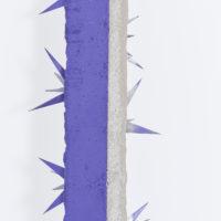 Detail, Luciente II, 2017, Concreto, púas metálicas, aerosol, 257 × 12 × 20 cm, Photo: Sergio López, Courtesy: El cuarto de máquinas.