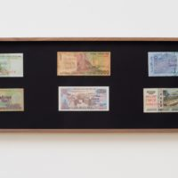 Vocabulary and Infrastructure/Vocabulario e infrastructura (after The Distance Plan), 2017. Marker on 10 banknotes. 10 x 47 x 1 1⁄2 in. Courtesy the artist and Commonwealth and Council. Photo: Ruben Diaz.