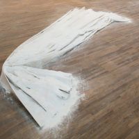 Nuno Ramos, Leque, 1987 / 2013, Cotton canvas and calcium oxide, Variable dimensions: 15 x 400 x 45 cm (as pictured). Courtesy Fortes D'Aloia & Gabriel. Photo: Eduardo Ortega