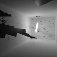 Reconstrucción a gran escala de la habitación en que se produjo la explosión de dron, Miranshah, 2012. Reconstrucción con ocasión de la Bienal de Arquitectura de Venecia de 2016, Forensic Architecture. Foto: Miquel Coll. Imagen cortesía del Museo Universitario de Arte Contemporáneo (MUAC).