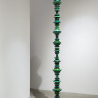 Thomas Glassford, Compact Green Drip, 2014, Melamine cafeteria ware & mixed media, 118