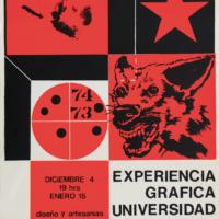 Arnulfo Aquino y Jorge Pérez Vega. Experiencia gráfica. Universidad Autónoma de Puebla, 1974. Cartel, serigrafía. Fondo Alberto Híjar, Centro de Documentación Arkheia/MUAC. Imagen cortesía de Museo Amparo.