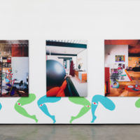 Ad Minoliti, Geo Mutants Legs and Case Study House Paintings, 2017. Paint on wall and acrylic on printed canvas. Dimensions variable. © Adriana Minoliti. Courtesy Cherry and Martin, Los Angeles